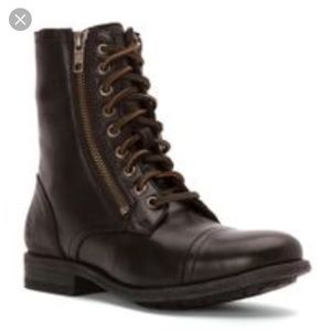 Frye chocolate brown leather combat boot